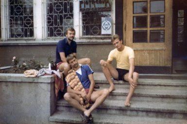 Lipiec 1982, Piotrków Trybunalski. Od lewej Zbigniew Wielgos, Włodzimierz Laskowski, Krzysztof Mierzejewski.